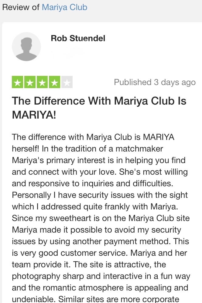 Advantages of Mariya-club, on our clients' mind!